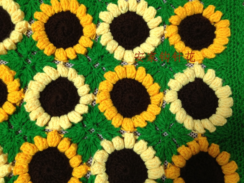 Handmade Crochet Vivid Sunflower Sofa Cushion Computer Pad Chair – Sunflower Chair Pads