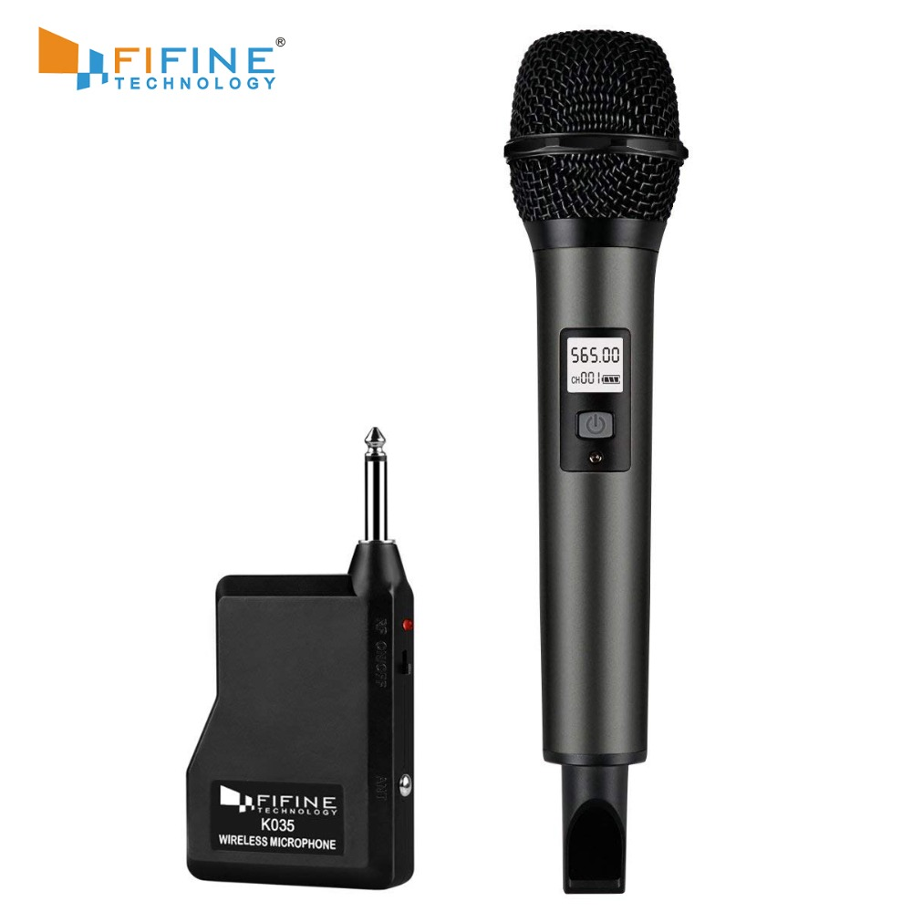 Fifine Wireless Microphone System With Portable Receiver 1/4'' Output, Selectable UHF Channels. Perfect For Church, Wedding, Etc