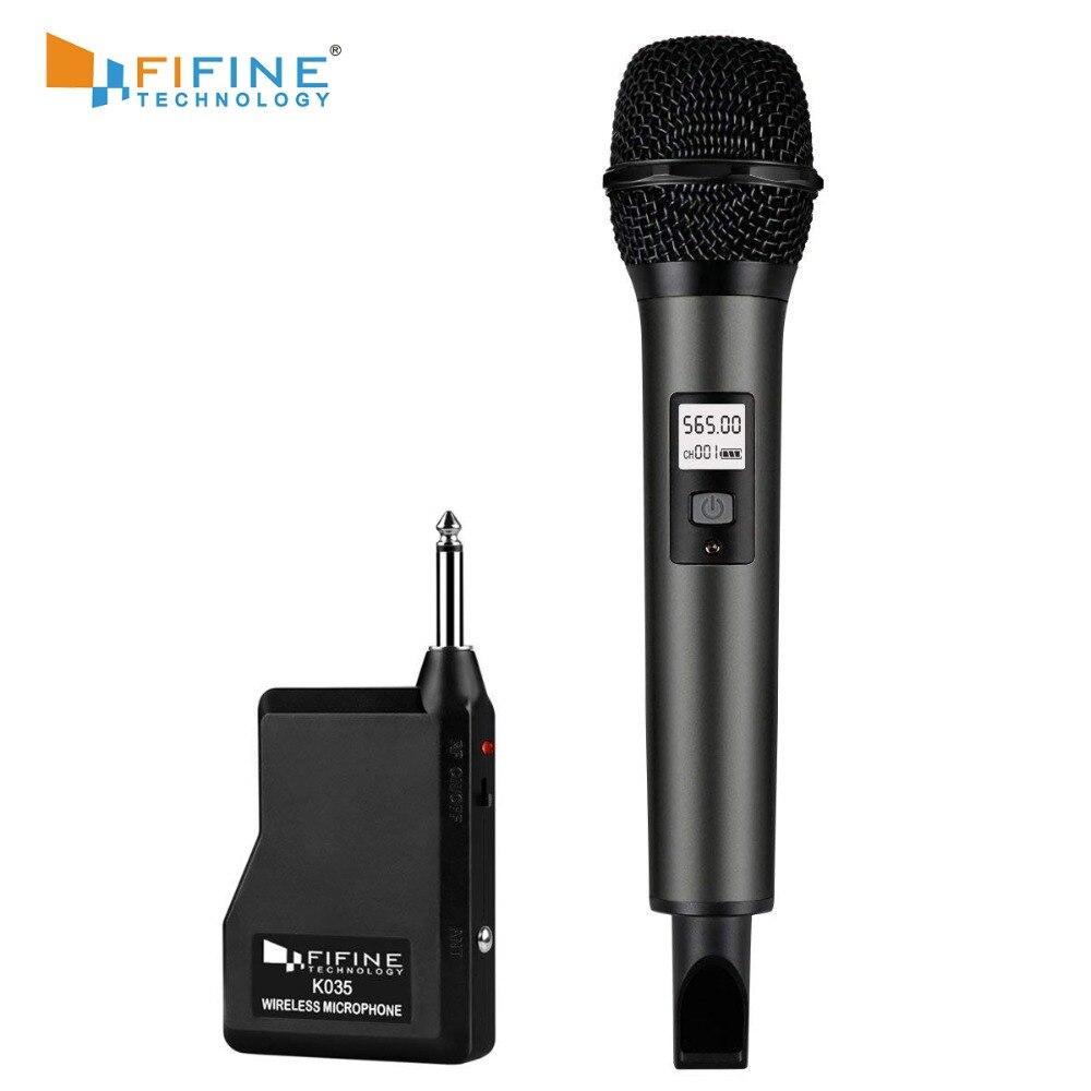 Système de Microphone sans fil Fifine avec récepteur Portable sortie 1/4 '', canaux UHF sélectionnables. Parfait pour l'église, le mariage, etc.