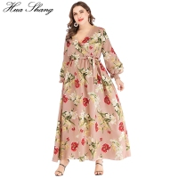 Boho Dress Plus Size Women Summer V Neck Lantern Sleeve Floral Print Bohemian Maxi Long Dress Belted Ladies Tunic Beach Dresses