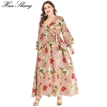 Boho Dress Plus Size Women Summer V Neck Lantern Sleeve Floral Print Bohemian Maxi Long Dress Belted Ladies Tunic Beach Dresses недорого