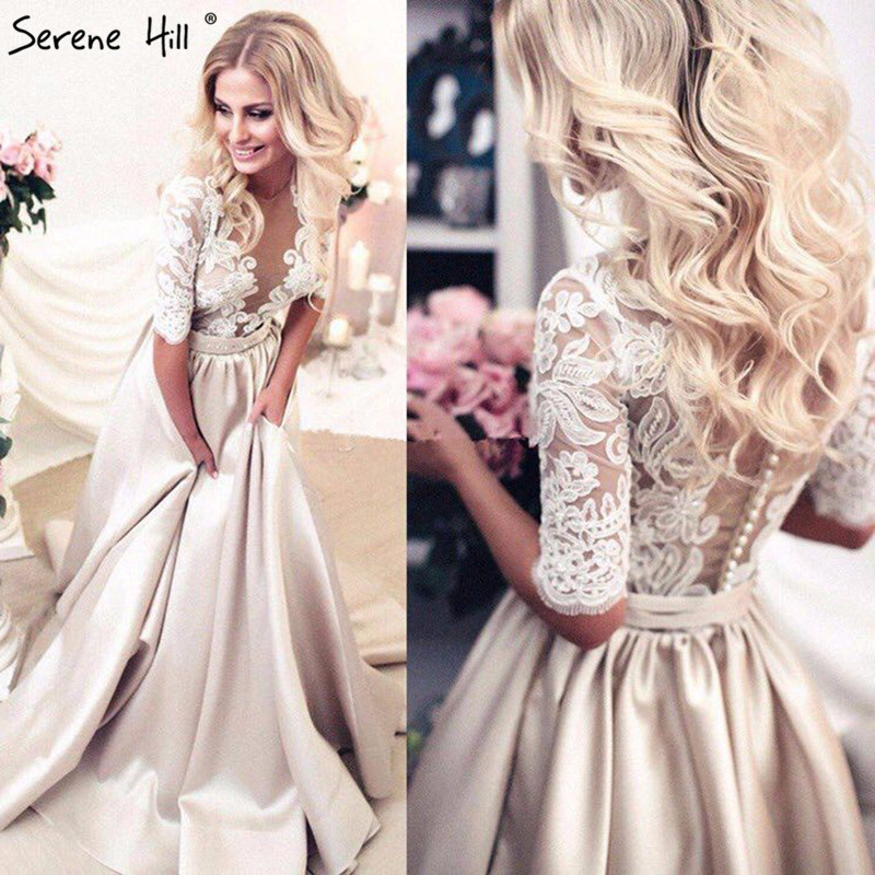 New Vintage Half Sleeves Satin Sexy Prom Dresses Long  Lace Beading Deep-V Evening Party 2019 Serene Hill HA2100