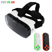 "Asli Fiit 2N 3D Kacamata Vr Virtual Reality Headset 120 FOV Video Google Gelas Karton Helm untuk Ponsel 4-6 ""+ Remote(China)"