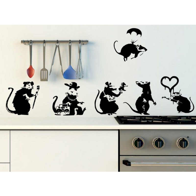 Banksy Large Collection Of Rats Version 2 - Set of 6 Rats Wall Stickers