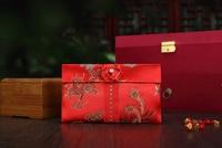 Twórcze Ekskluzywny Ślub Czerwone Tkaniny Brokatem Dragon Phoenix Rose Węzeł Kitki Nowy Rok Prezent Torba