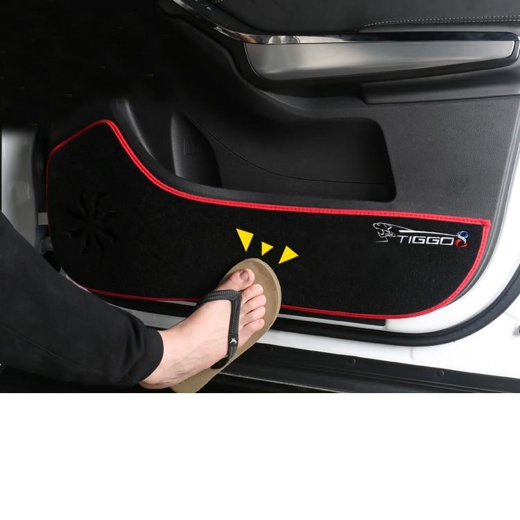 Lsrtw2017 Durable Plush Car Door Anti-kick Mat For Chery Tiggo 8 2018 2019 2020