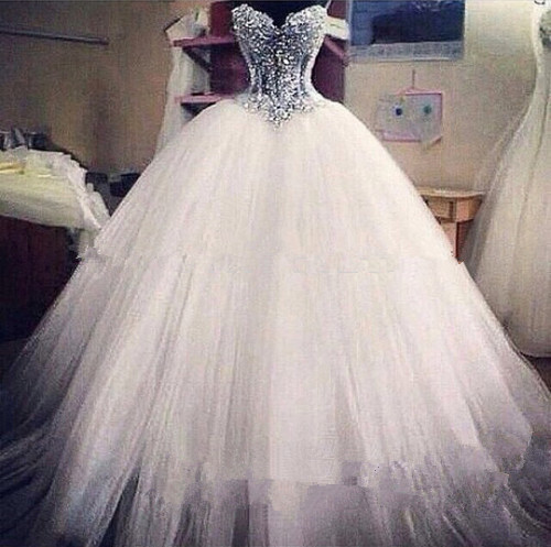Luxurious Bling Sweetheart Ball Gown Strapless Wedding Dresses Corset Bodice Sheer Bridal Crystal Pearl Beads Rhinestones Tulle In From