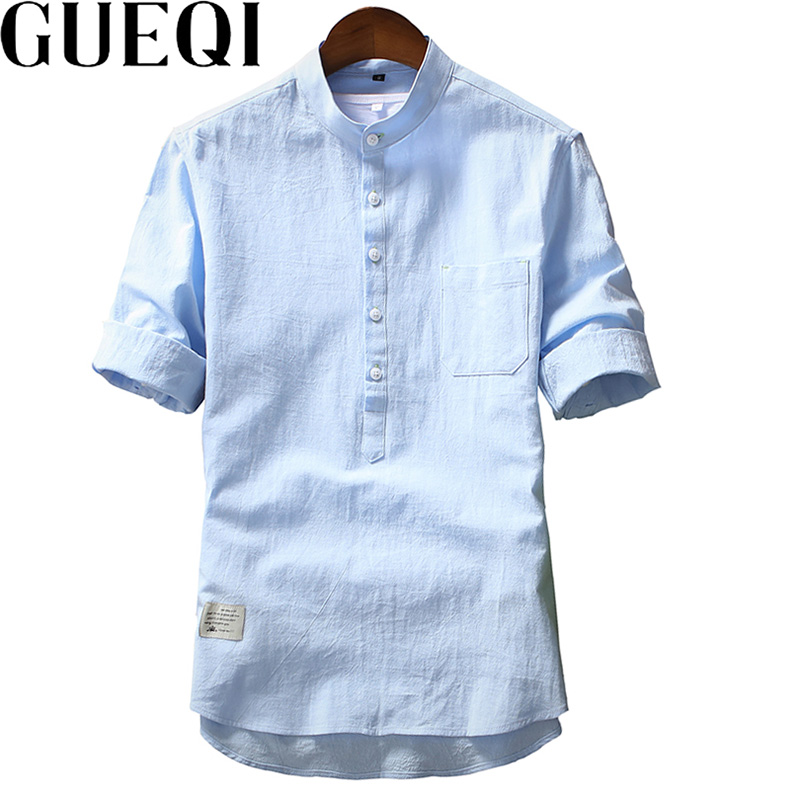 Gueqi cool summer men linen shirts plus size m 3xl stand collar clothing 2017 new young