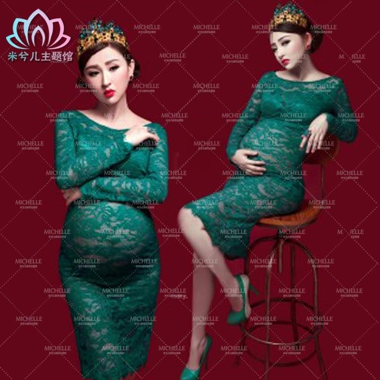 ФОТО Maternity pregnant women Photography Props deep green Elegant Romantic Photo Shoot Lace Dress Costume Clothing free shipping