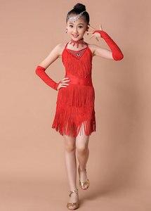 Image 4 - Kids Salsa Dresses Sequin Latin Dance Dress For Girls Fringe Dancing Dancewear Stage Samba Junior Ballroom Standart Costumes