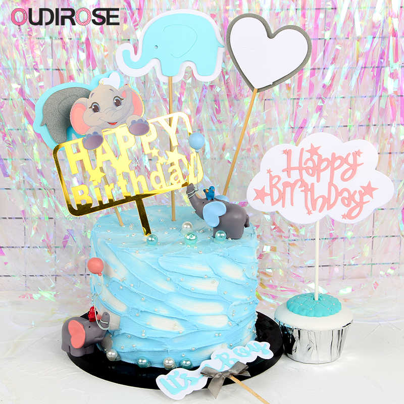 1set First Birthday Girl Boy Party Decorations Cake Topper Happy Birthday Cake Topper Child Birthday Decorations Party Favors