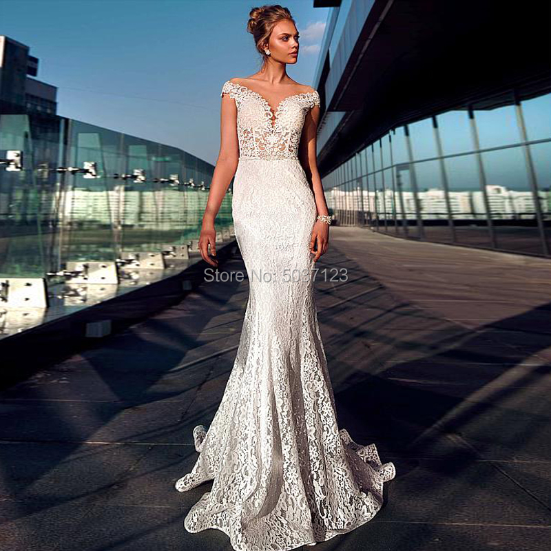 Off The Shoulder Mermaid Wedding Dresses Sweetheart Lace Appliques Vestido De Noiva Court Train Button Illusion Bridal Gowns