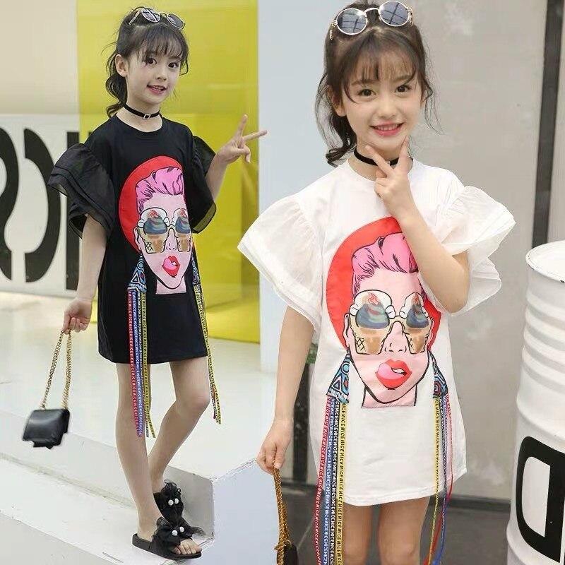 Fancy Girls Tassel Tshirt Childrens Garment 2019 Trend New Pattern Lips Beauty Woven Fabric Bring Fashion Child Cotton T-shirt