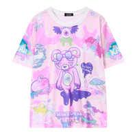 Camiseta casual engraçado moda feminina novidade de manga curta t shirt urso monstros o que quer que a cadela graffiti