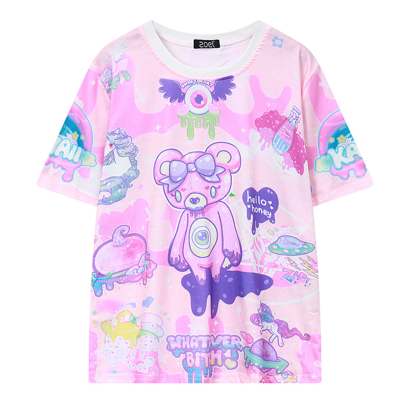 Pastel Goth Cute Pink T Shirt Bear Monsters Whatever Bitch Graffiti Funny Casual T-shirt Women Fashion Novelty Short Sleeve Tee