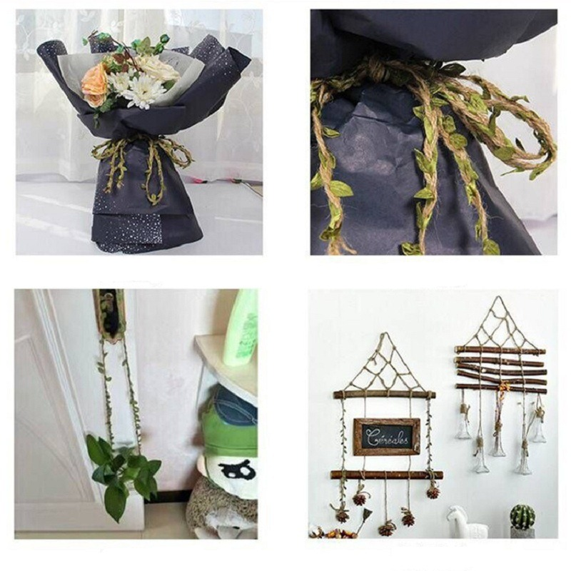 2M 5M Simulation Green Leaves Weaving Hemp Rope DIY Wedding Birthday Wedding Decoration Rattan Gift Bouquet Packaging Rope 5mm