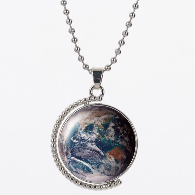 LVB37 soil earth pattern 25mm resin material pendant and 45cm 925 silver chain for women necklace birthday gift
