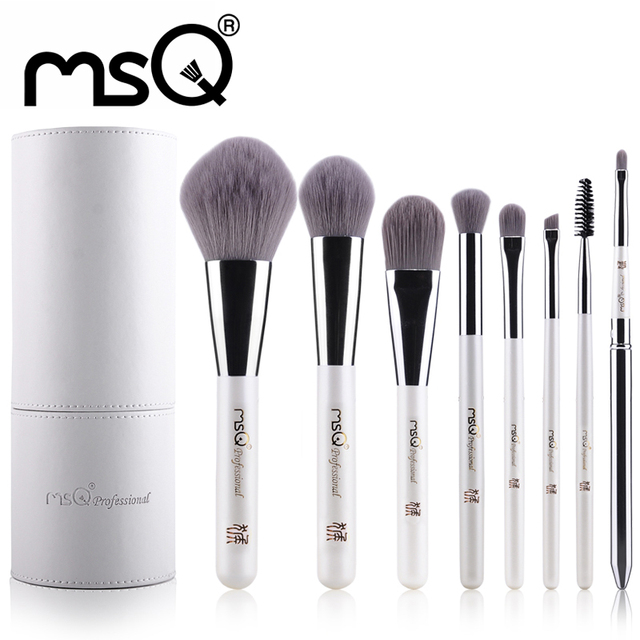 MSQ Professional Cosmetics Set 8pcs Travel Makeup Brushes High Quality Synthetic Hair Natural wood Handle With White Cylinder