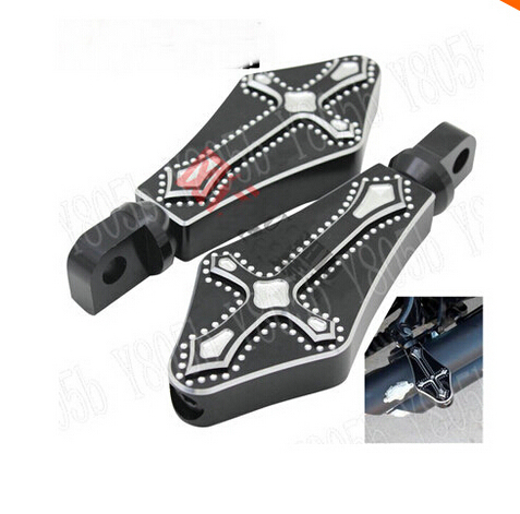 CNC Black Cross Foot Pegs Rest Floorboards For Harley Davidson Sportster XL883 XL1200 Dyna Wide Glide Bobber