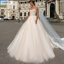 VNXIFM Beach Backless Wedding Dresses 2019 Sexy Spaghetti Straps Appliques Tulle Long Formal Bridal Gowns A-Line dresses