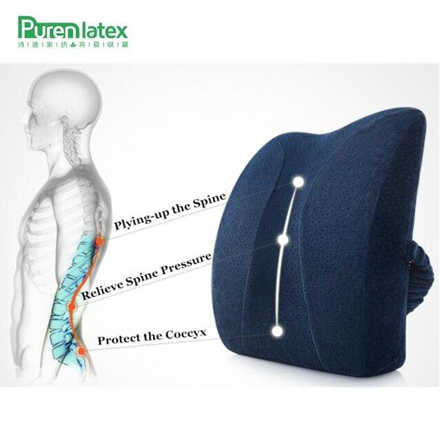 PurenLatex 35*41*11 Memory Foam Seat Pillow Car Chair Back Cushion Pad Waist