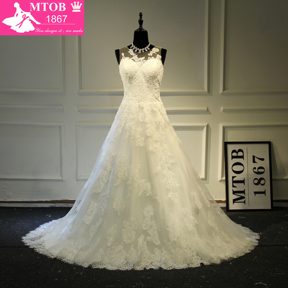 Elegant A line Lace Wedding Dress Illusion Back With Crystals Beading Embellishments MTOB1726