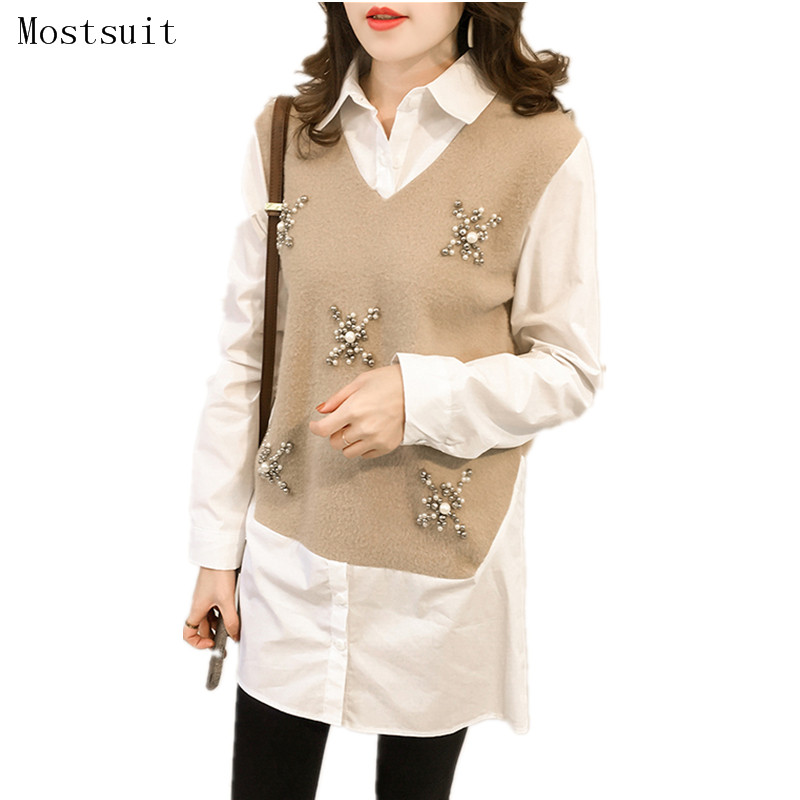 M-5xl Plus Size Fake Two Pieces   Blouses     Shirt   Beading Woolen Patchwork Women Long Sleeve Tracksuit Casual Pullovers Top Feminino