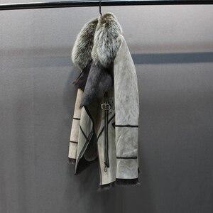 Image 3 - 100% hakiki koyun derisi deri kürk ceket tilki kürk yaka ince stilleri moda kadın sonbahar cilt ve kuzu koyun kürk ceket