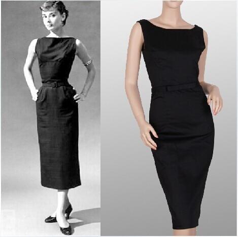 Classic Audrey Hepburn Black Dress Designer Vestidos