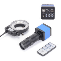 HAYEAR 16MP HDMI Digital Machine Vision Industrial Microscope Camera CCD 100X C Mount Zoom Lens 144 LED Light for PCB Soldering