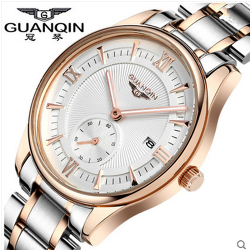 ФОТО Luxury Brand GUANQIN Men Quartz Watch Three-pin Fashion Waterproof Men's Designer Watch Male Gold Wristwatches Relogio Masculino