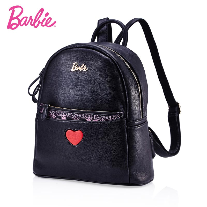 Barbie 2018 fashion backpacks women red heart backpack black cute Leather school bag women Casual style bag two bags small