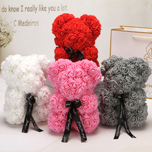 2019 Hot Sale 25cm Bear of Roses Artificial Flowers Home Wedding Festival DIY Cheap Wedding Decoration Gift Box Wreath Crafts