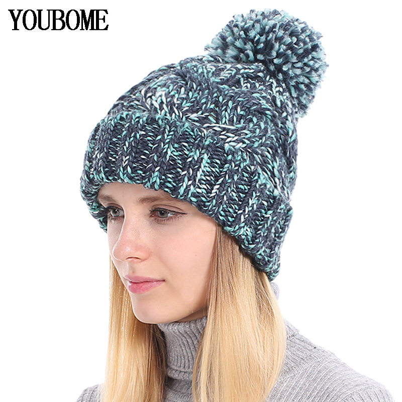 YOUBOME Fashion Winter   Beanie   Female Winter Hats For Women   Skullies     Beanies   Baggy Girls Warm Striped Lady Caps Knitted Hat 2018