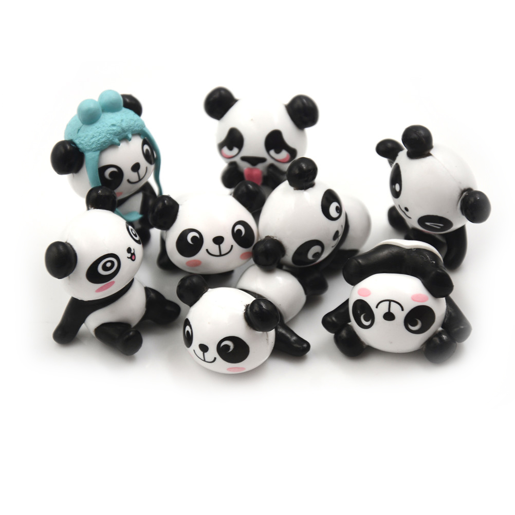 Mini PVC Action-Figures Kawaii Birthday-Gift Kids Panda Peripherals Preschool-Toy-Set