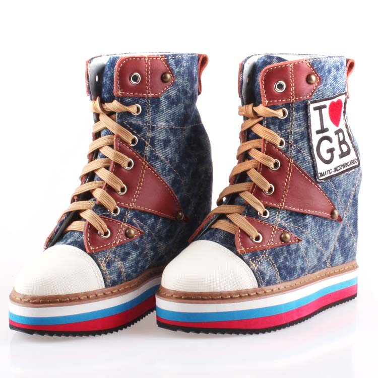 2018 women thick soles high platform canvas shoe denim wedges heels casual shoes fashion patchwork rivets high top lace up women victor 6050 digital clamp meter