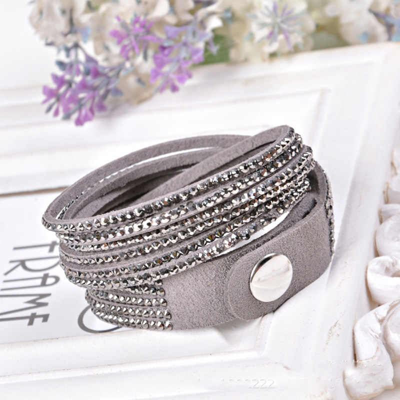 AENINE Hot Sale Fashion Rhinestone Leather Wrap Bracelet Jewelry Classic Crystal Multilayer Bracelets Bangles For Women Pulsera