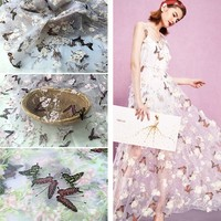 High quality organza lace fabric 3D stereoscopic digital positioning butterfly printing width lace dress accessorie
