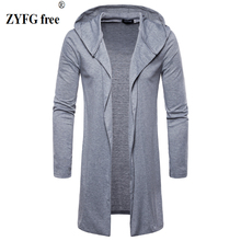 New 2018 Cardigan  Hooded T-shirt Male summer style solid color slim Cotton blended length casual t-shirt men EU/US size M-XXL 5902001399 men s stylish custom fitting cotton blended shirt black xxl