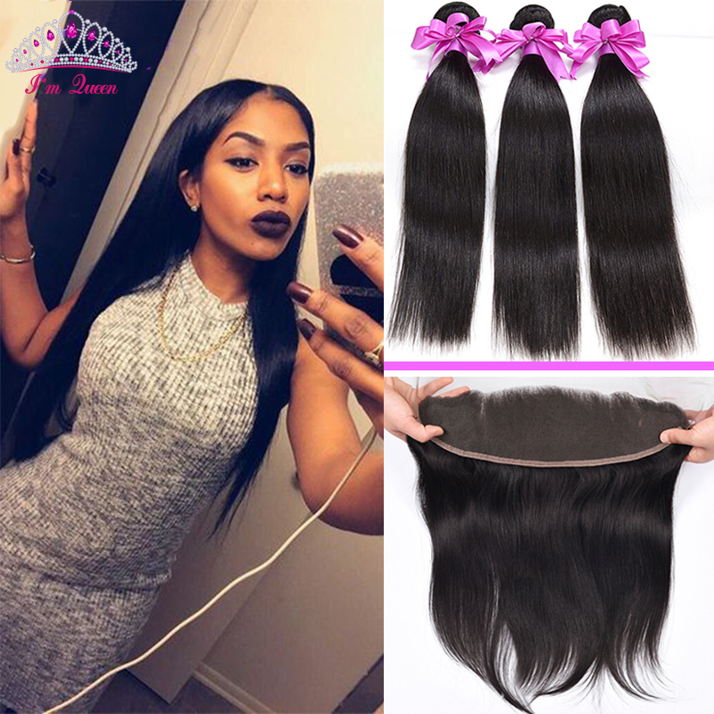 7A Malaysian Virgin Hair Straight Hair With Lace Frontal 4PCS Malaysian Unprocessed Straight Hair Bundles with 13X4 lace Frontal