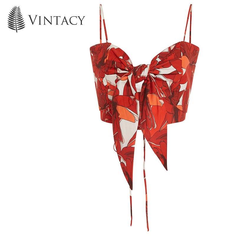 Vintacy plus Size Polyester summer women Red tank top crop tops slash neck sleeveless tank tops casual spring short shirt crops