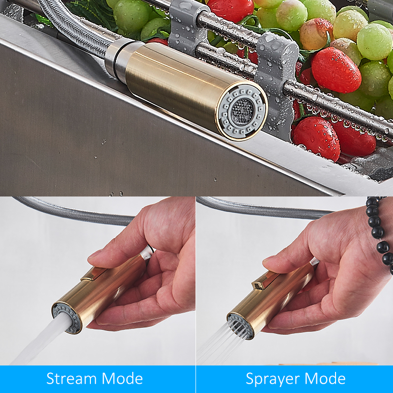 HTB1F2JfblCw3KVjSZR0q6zcUpXaM Quyanre Brushed Gold Kitchen Faucet Pull Out Kitchen Sink Water Tap Single Handle Mixer Tap 360 Rotation Kitchen Shower Faucet