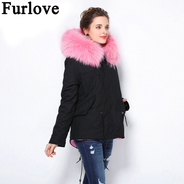 Furlove 2017 winter jacket women black real raccoon fur collar detachable warm coat faux fur liner parkas tops short type warm faux rabbit fur brown mr short jacket sleeveless with big raccoon collar fall coat
