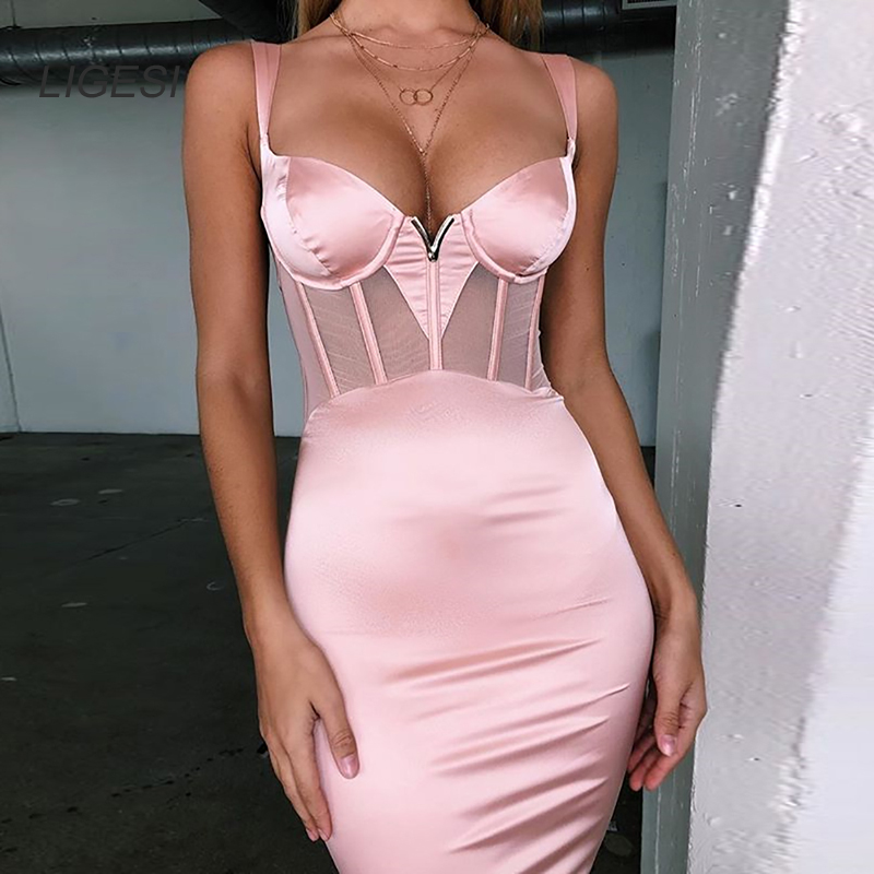 New 2 Colors Bodycon <font><b>Dress</b></font> <font><b>Women</b></font> Mesh Patchwork Satin Party <font><b>Dresses</b></font> <font><b>Sexy</b></font> Ladies Elegant Club <font><b>Dresses</b></font> Vestdios Robes image