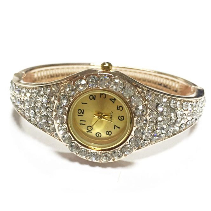 Luxury Women Rhinestone Bangle Crystal Flower Bracelet Quartz Wrist Watch Beautiful High Qulity Hot Selling Free Shipping M3 hot unique women gold rhinestone bangle watch and bracelet set 587 drop shipping jan3