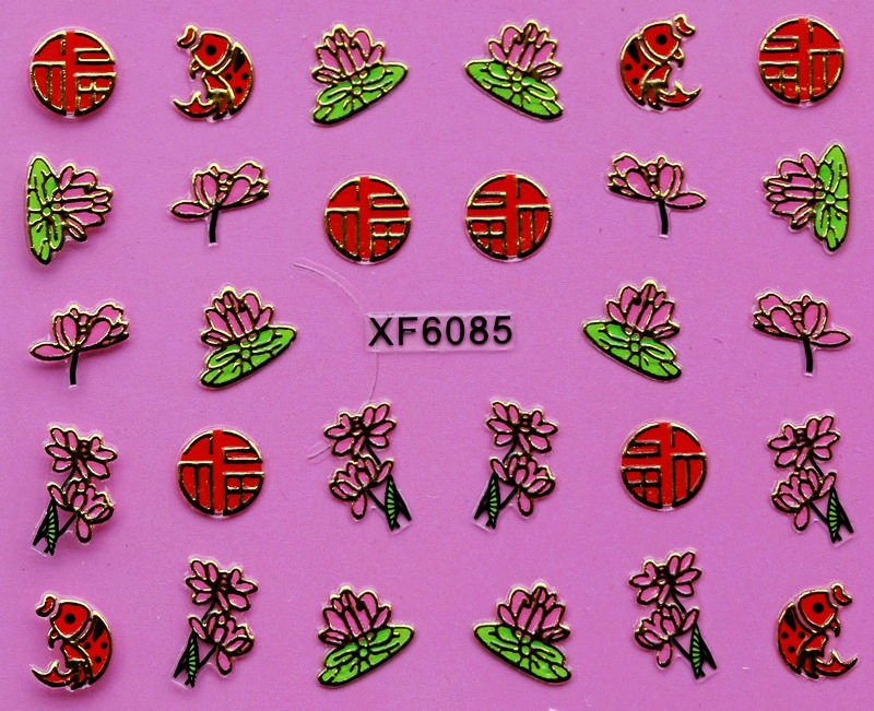 2pcs/lot XF6085 3D Design Fashion Nail Art Gold Plating Nail Sticker Decals Manicure Nail Tools Nail Art Decorations