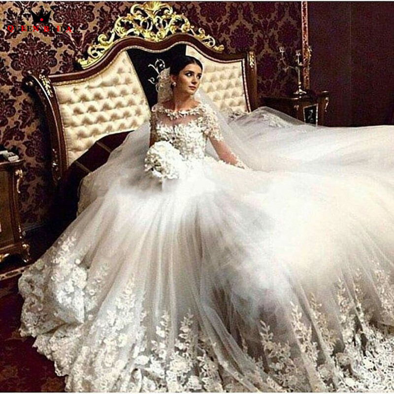 Custom Made Ball Gown Long Sleeve Fluffy Tulle Lace Flowers Beading Wedding Dresses 2020 Luxury Vestido De Noiva DA102