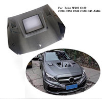 Car Front Hood Covers Auto Engine Hood for Benz C Class W205 C180 C200 C250 C300 C350 C43 AMG C63 AMG 2015 2019 Carbon Fiber