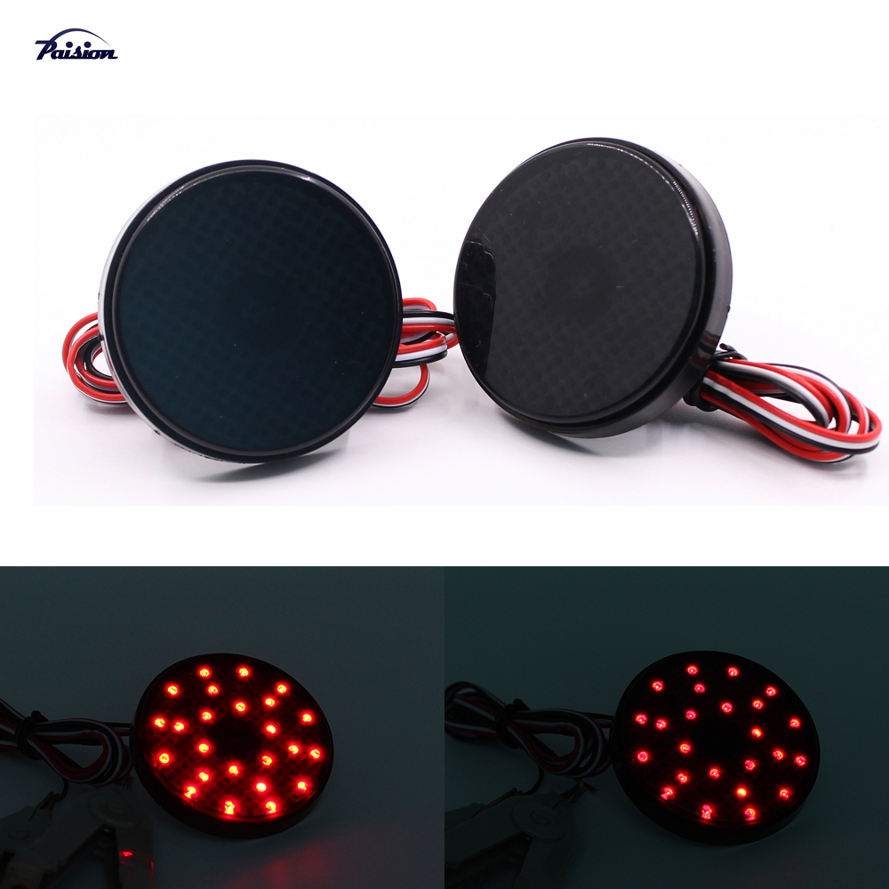 2pcs 5 8cm Black Smoked Lens Round Led Bumper Reflector