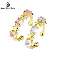 Pure 925 Sterling Silver Wedding Rings for Women 2 Natural Gemstone Pink Crysrtal and Moonstone Fashion Jewelry 18K Gold Color